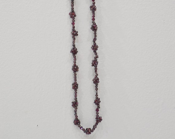 Necklace Beaded Garnet Necklace Strand