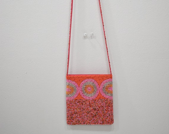 Purse Beaded Pink Orange Shoulder Bag