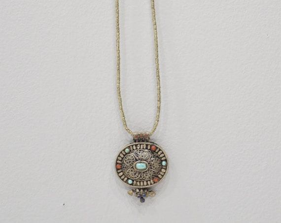 Pendant Tibetan Silver Turquoise Prayer Box Necklace