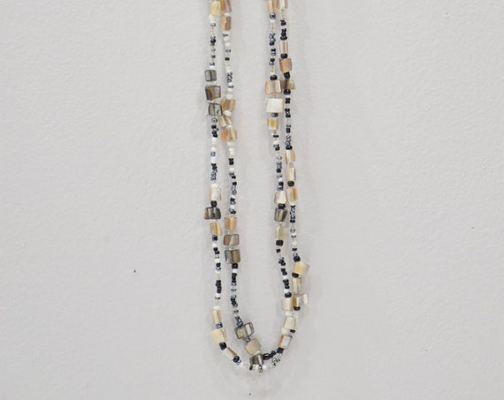 Necklace Beaded Mother of Pearl Black White Glass Strand Necklace