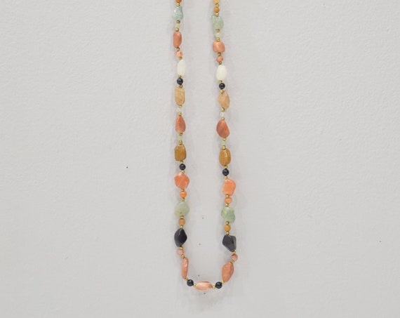 Necklace Assorted Agate Brass Beaded Necklace