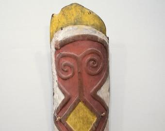 Papua New Guinea Shield Red Yellow Wood Mountain Ok Tribe West Sepik Province