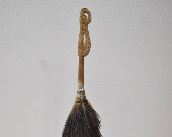Papua New Guinea Fly Whisk Carved Wood Handle Cassowary Bird Feathers Hand Carved Clan Symbols