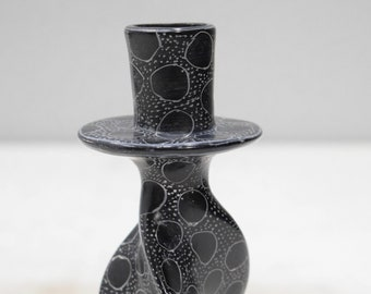 Candle Holder Soapstone Carved Abstract Design Hand Painted Kenya