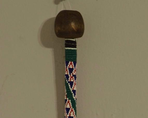 African Zulu Beaded Dance Stick Handmade Dark Wood Red Green Beaded Dance Ceremony Men Power Zulu Dance Stick