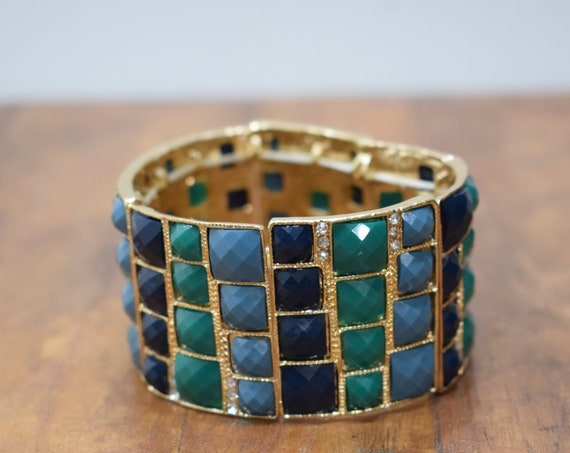 Bracelet Blue Green Black Faceted Gold Stretch Bracelet