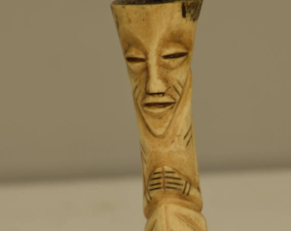 Fetish African Lega Bone Fertility Zaire Handmade Vintage Carved Abstract Fertility Status Lega Bone Figure
