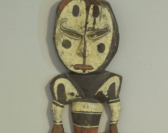 Papua New Guinea Statue Hook Iatmul Wood Food Ceremonial Hook 29""