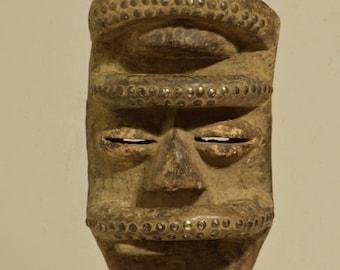 Mask African Bete Wood Brass Magic Mask