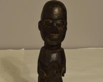 African Male Lobi Fetish Wood Statue Burkina Faso Handmade Doll Tribal Spirit Male Fetish Statue