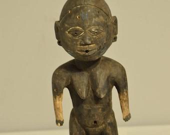 African Yoruba Female Shrine Statue Handmade Male Society Fertility Womanhood Ceremonial Female Statue