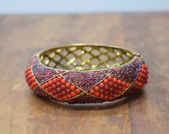 Bracelet Red Orange Beaded Art Deco Gold Cuff Vintage Bracelet