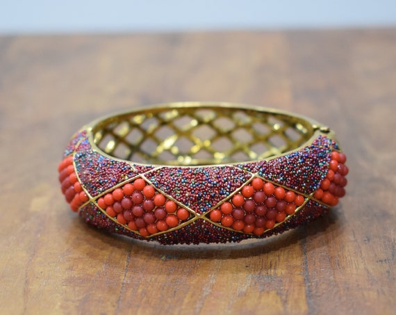 Bracelet Red Orange Beaded Art Deco Gold Cuff Vintage Bracelet