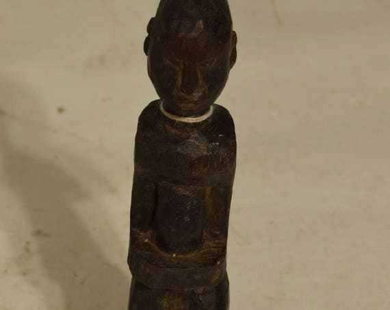 African Male Lobi Fetish Wood Statue Burkina Faso Handmade Doll Tribal Spirit Male Fetish Statue