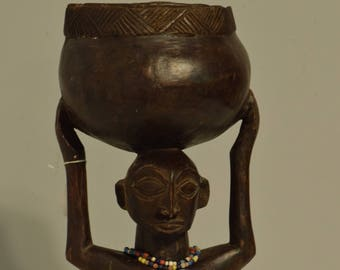 African Statue Luba Cup Female Statue Zaire