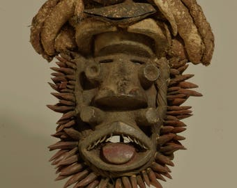 Mask African Wood Guere Mens Carved Animal Spirit Mask