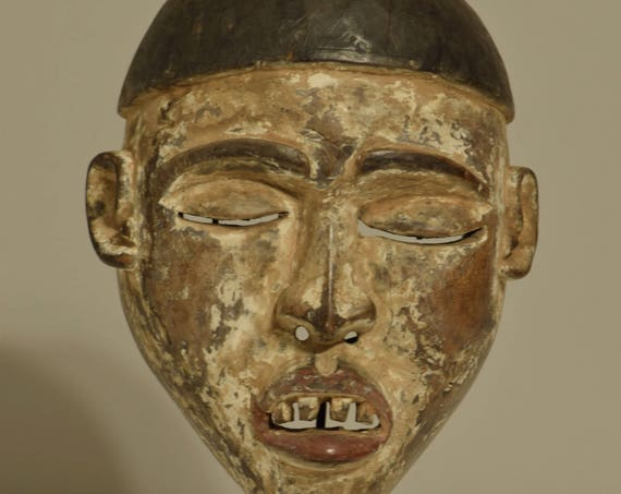 Mask African Yombe Male Power Congo Handmade Funeral Initiation Mask