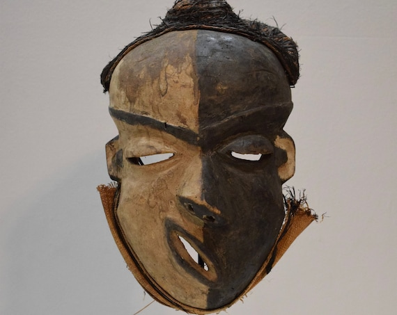 African Mask Pende Tribe Congo Hunter Healer Wood Rafia African Mask