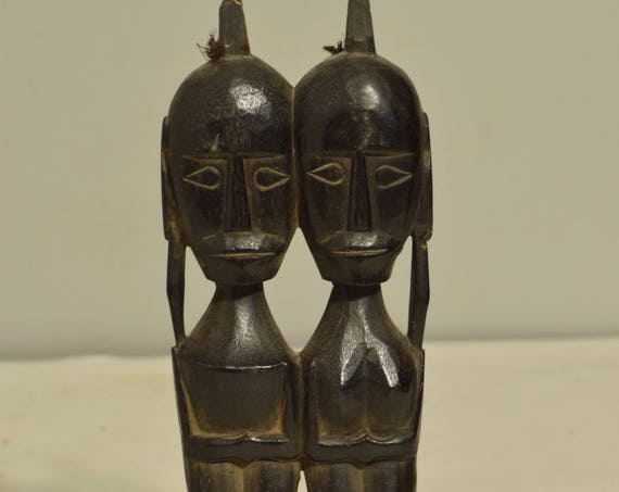 Statue Timor Statue Male Female Couple Figure Ancestor Black Indonesia Handmade Tribal Ancestor Figure Worship Wood Statue