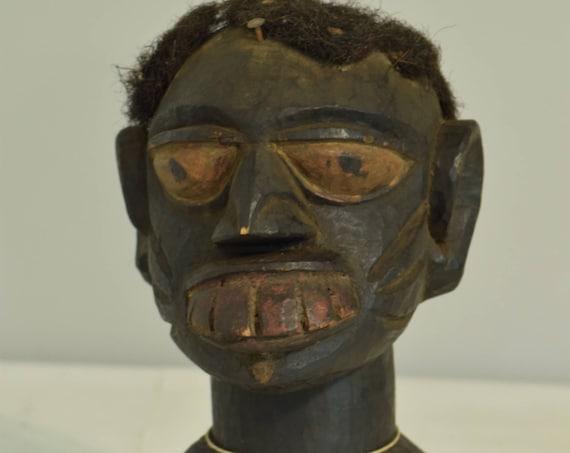 African Mask Yoruba Crest Carved Painted Helmet Mask Hair Nigeria Handmade Dances Ceremonies Male Crest Yoruba  Mask