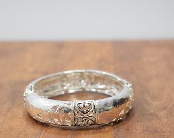 Bracelet Plated Silver Cut Out Stretch Bangle Bracelet