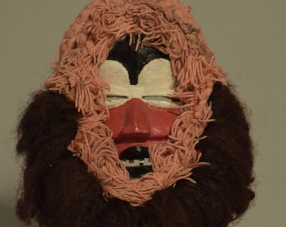 Mask Africa Dan Tribe Pink Yarn Hair Teeth Red Face Liberia Dan Mask Handmade Magic Dancing Face Mask Wood Unique