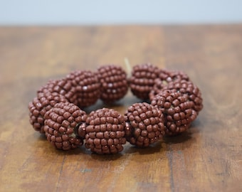 Bracelet Beaded Brown Bead Elastic Bracelet