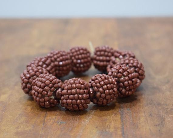 Bracelet Beaded Brown Bead Elastic Bracelet