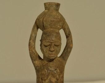 African Female Lobi Fetish Wood Statue Burkina Faso Handmade Doll Tribal Spirit Male Fetish Statue