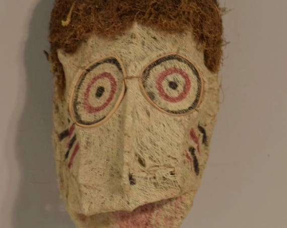 Papua New Guinea Doctors Baining Mask New Britain Barkcloth Ceremonial Male Mask 16""