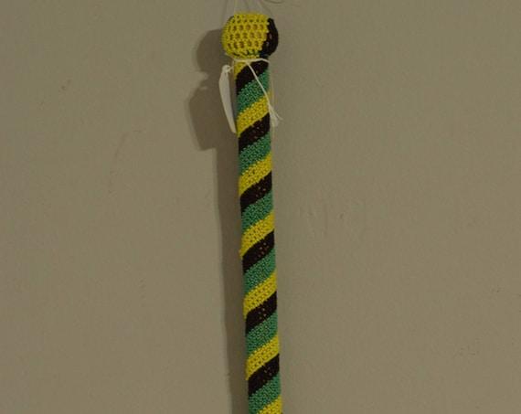African Zulu Beaded Dance Stick Handmade Green Yellow Black Beaded Dance Ceremony Men Power Zulu Dance Stick