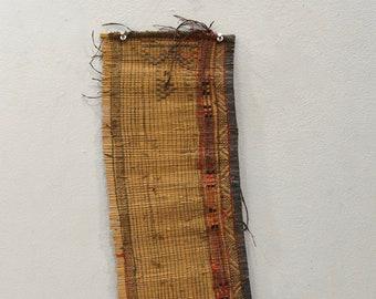 African Tuareg Woven Straw Leather Tribal Tuareg Mat Mali