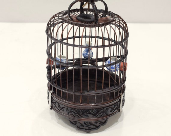 Chinese Wicker Birdcage Porcelain Water Food Bowls Wicker Birdcage