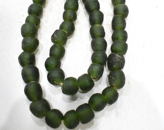 Beads African Dark Green Recycled Glass  13mm