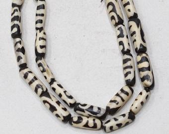 Beads African Old Batik Bone Tube Beads 25-27mm