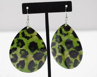 Earrings Green Animal Print Earrings
