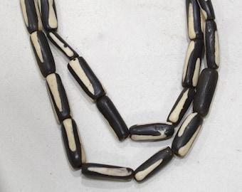 Beads African Old Batik Bone  Stripe Tube Beads 20-25mm