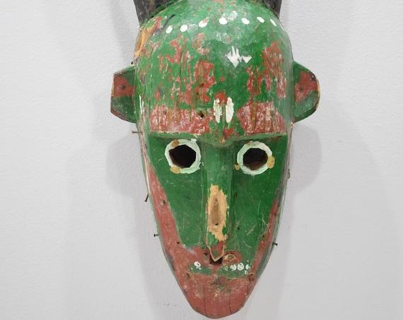 """African Mask Bozo/Bambara Marionette Green Mask Puppet Mali 26"""""""