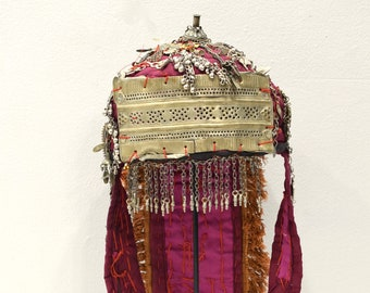 Headdress Turkmen Ceremonial Pendant Kuchi Coin Womans Hat