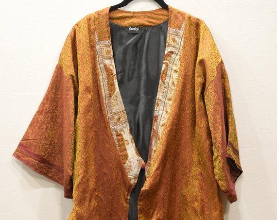 Jacket Silk Orange Red Brocade Jacket
