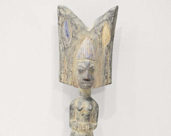 African Statue Yoruba Tribe Shango Carved Wood Statue