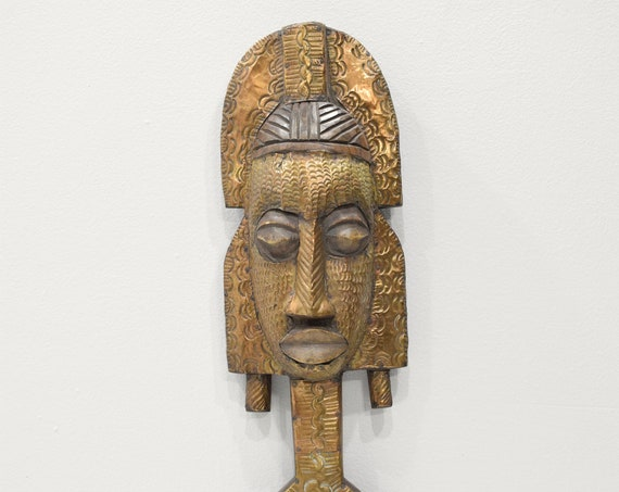African Mask Bakota Reliquary Gabon Africa Brass Ancestor Mask