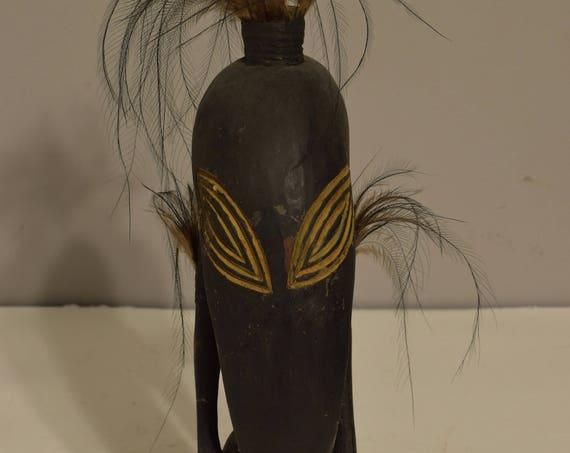 Papua New Guinea Statue Kore Ramu River Feathers Protective Amulet Statue
