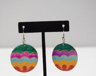 Earrings Painted Wood Circles