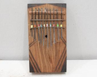 "African Piano Wood Box Thumb Piano Etched Wood ""Kalimba"""