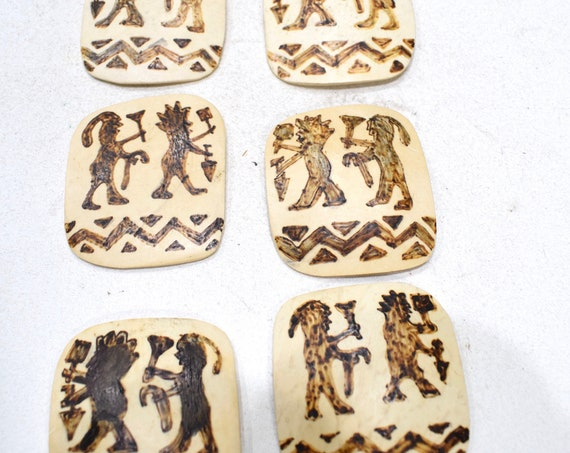 Beads Philippine Etched Coconut Square Pendants 40-43mm