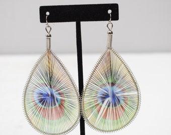 Earrings String Peacock Feather Earrings
