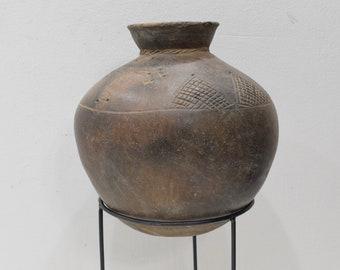 African Clay Storage Pot Handmade Lobi Tribe