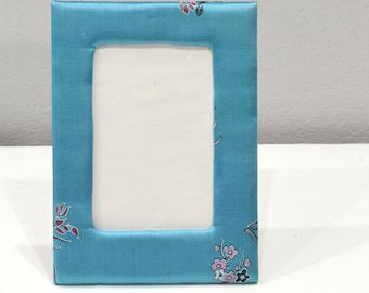 Picture Frame Chinese Turquoise Satin Brocade Frame 5x7
