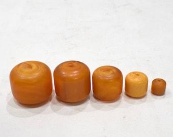 Beads Dark Butterscotch Round Copal Amber Beads 38mm - 13mm